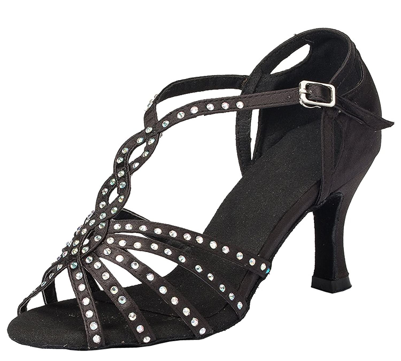 Abby YFYC-L065 Womens Latin Tango Ballroom 3 Inch Heel Professional Satin Dance Shoes