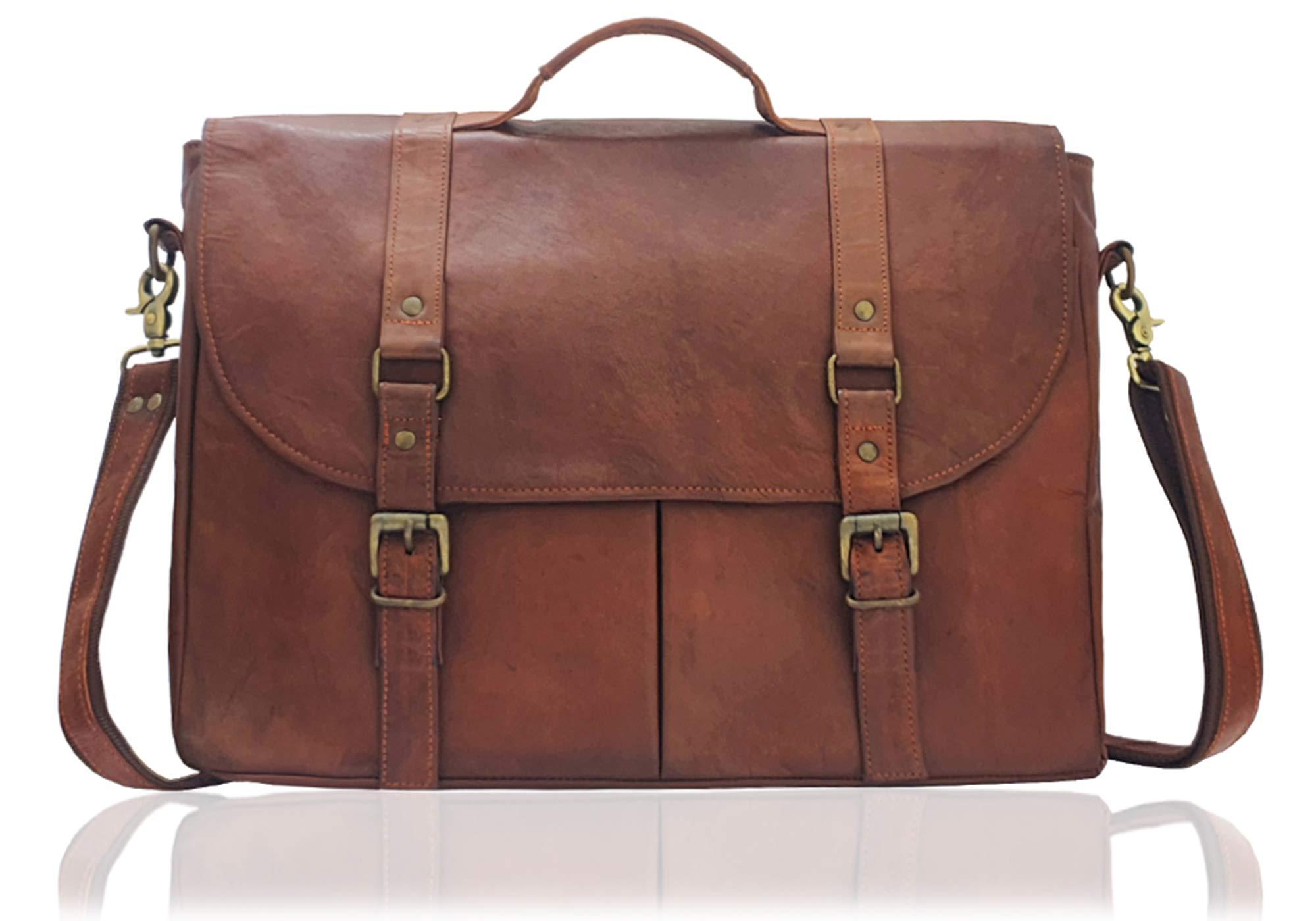 HI-DE Genuine Sheep Leather Laptop Messenger Bag 15 inch Vintage Style Handmade by HI-DE