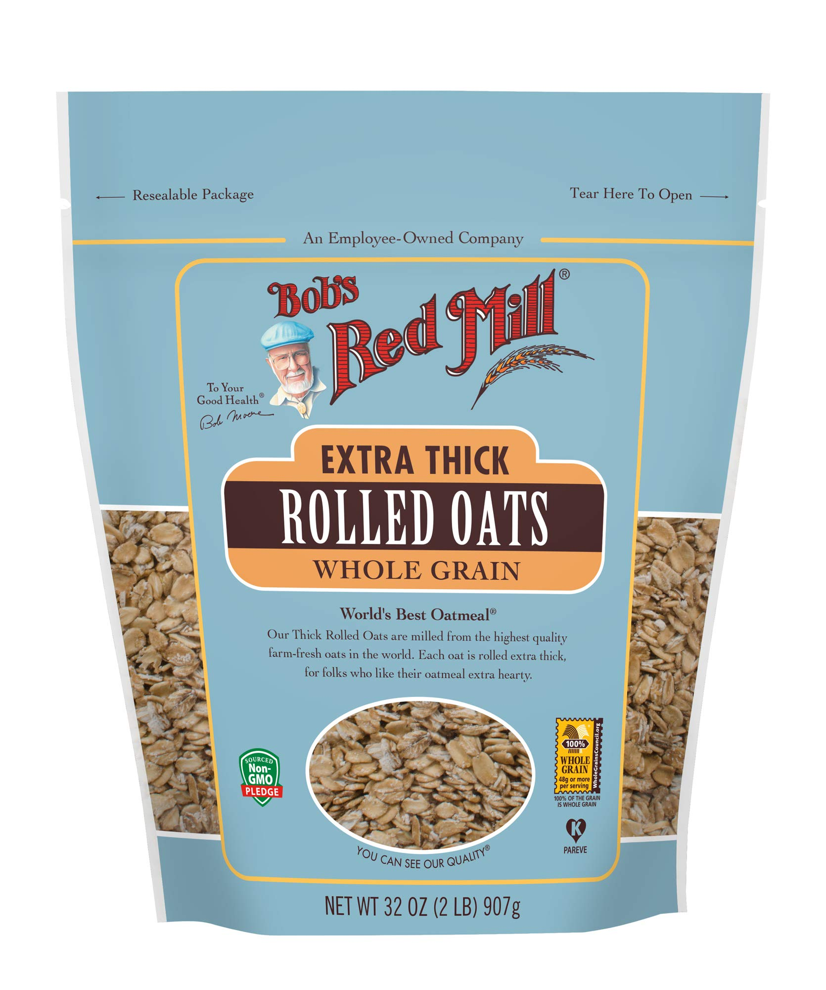 Bob's Red Mill Organic Extra Thick Rolled Oats, 32 Oz (4 Pack) by Bob's Red Mill (Image #2)