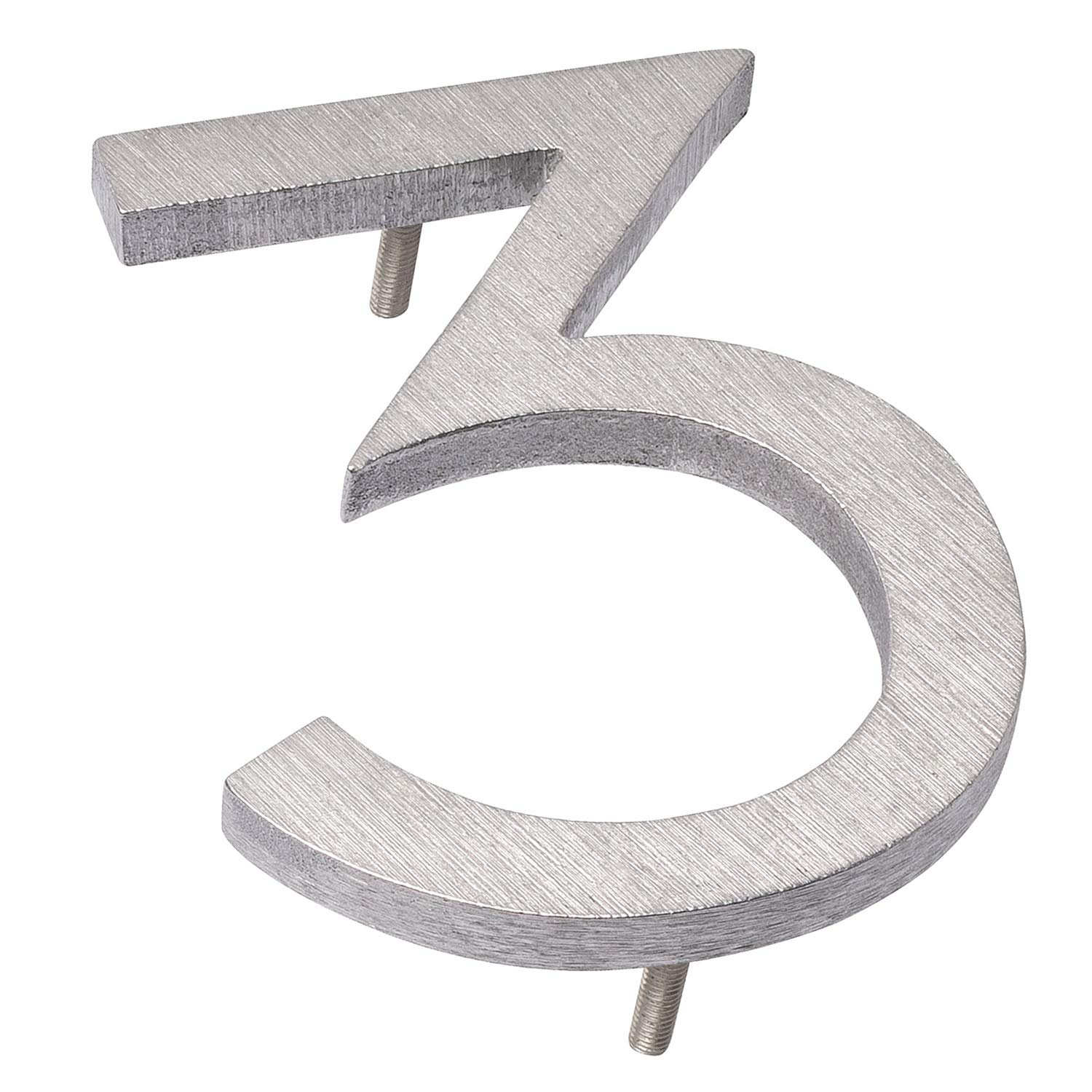 Montague Metal Products MHN-08-3-F-BA1 Floating House Number, 8'' x 6'' x 0.375'' Polished Aluminum
