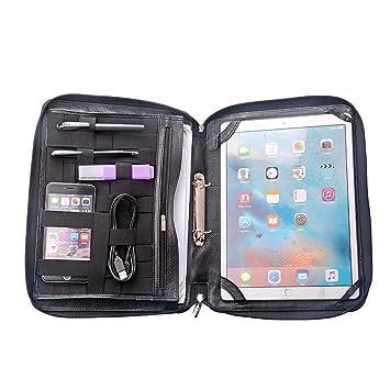 iCarryAlls Deluxe Folio cartera portadocumentos de piel con asa y anillas, con correa para el hombro, para 12.9 inch iPad Pro, Negro: Amazon.es: Informática