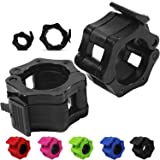 """Day 1 Fitness Quick-Release Safety Collars Set of 2 – Choose Size 1"""" or 2"""" - 5 Color Options, Weight Locking Clips: 1 inch St"""