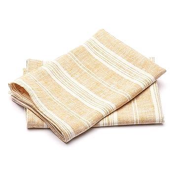 Linenme Juego de toallas de mano (2 unidades, 100% lino, prelavado, súper absorbente, sostenible, fabricado en Europa), color dorado: Amazon.es: Hogar