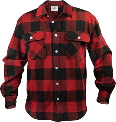 Amazon.com: EXTRA HEAVYWEIGHT BRAWNY FLANNEL SHIRT - RED/BLACK ...