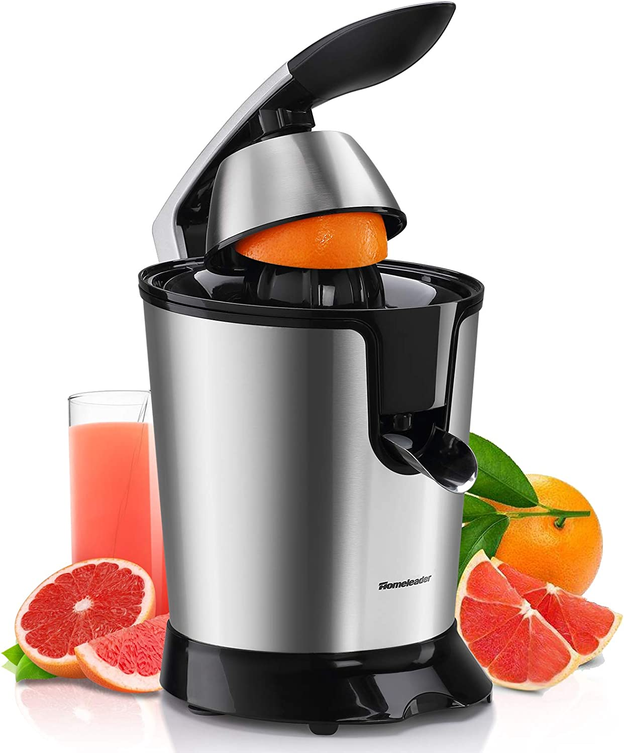 Homeleader Electric Citrus Juicer, Orange Juice Squeezer with Double Reamers, Soft Grip Handle, Stainless Steel, Easy to Use and Clean, Anti-Drip Spout, 350W Powerful Motor for Grapefruits, Orange and Lemon