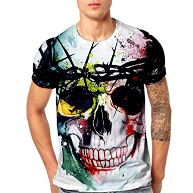 2595bf452e38e Mens T-Shirts Unisex Fashion 3D HD Skull Printed Men Fashion Arder Stamp  Lovers T-Shirts Short Sleeve Tops Blouse Summer  Amazon.co.uk  Clothing