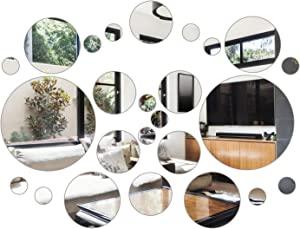 Aneco 52 Pieces Flexible Mirror Wall Stickers Set Removable Acrylic Mirror Circle Self Adhesive Plastic Mirror Decal for Home Decor