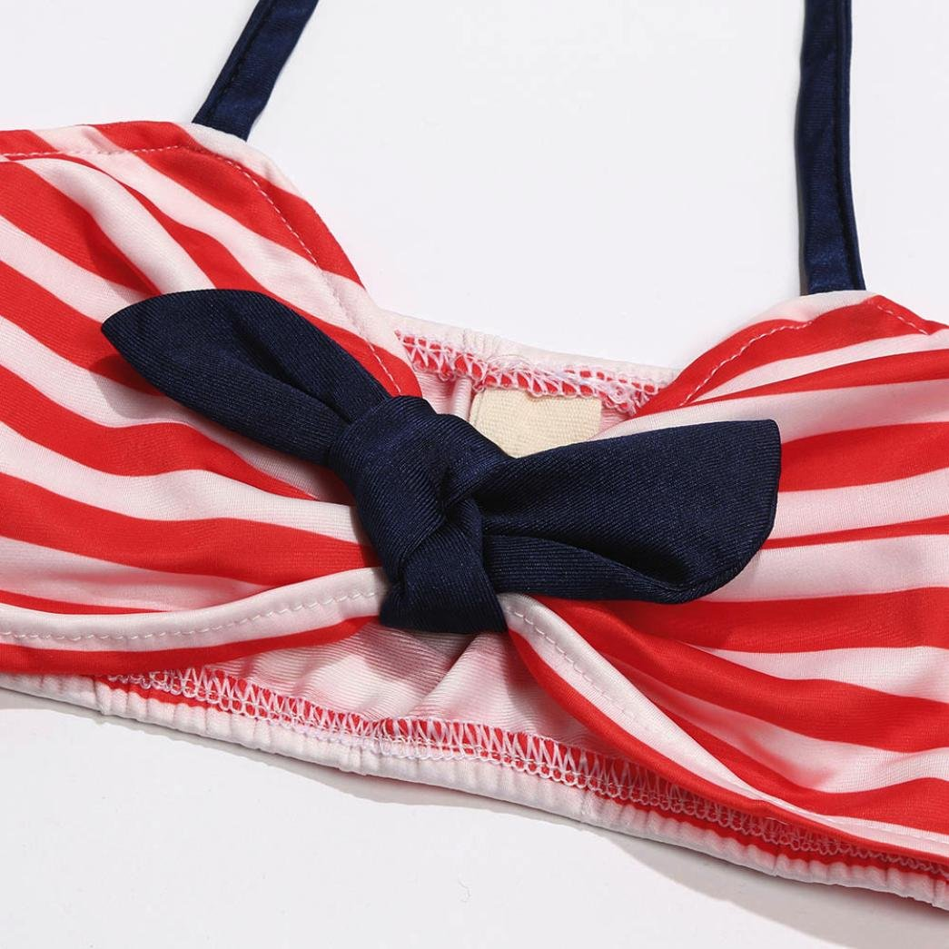 BYSTE Bambina Bikini Ragazze Spiaggia Costumi da bagno a strisce stampa fionda Tops Swimsuit Coordinati Beachwear Bikini Fascia per capelli outfits 3Pcs Costume da bagno