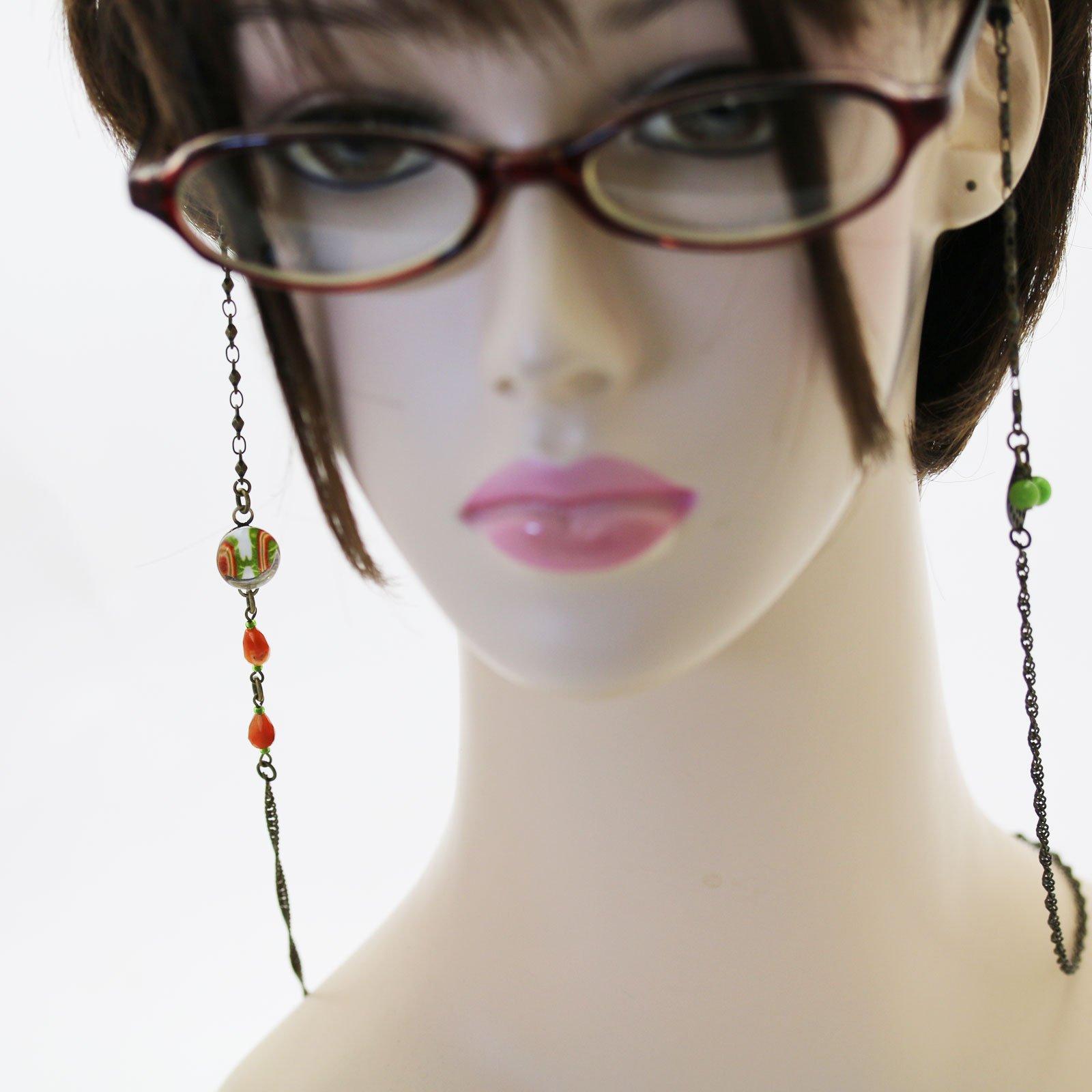 Tamarusan Glasses Chain Cicada Green Carnelian Glass Cord Handmade by TAMARUSAN (Image #5)