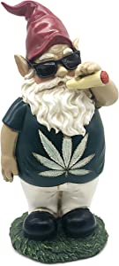 FICITI Weed Smoking Gnome, Funny Garden Gnome, Stoner Lawn Gnome, Hilarious Gnome - 10 Inches