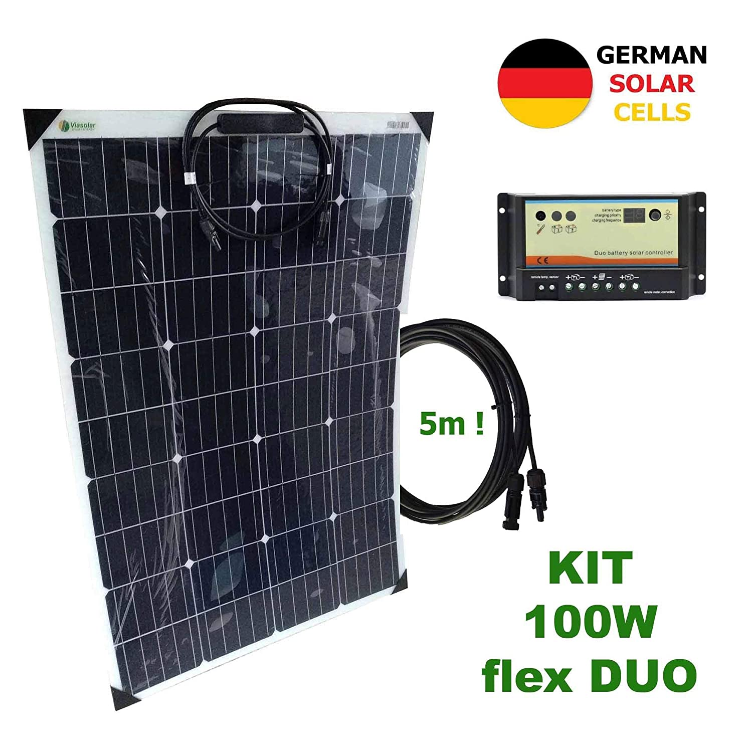 VIASOLAR Kit 100W Flex Duo 12V Panel Solar Semi-Flexible células ...