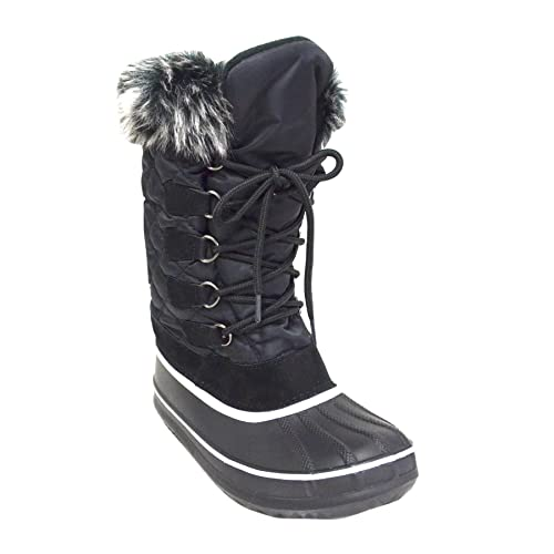 Women s Lace-up Water Resistant Winter Snow Boots (MARLEY-05) Black 5 5ebf98111