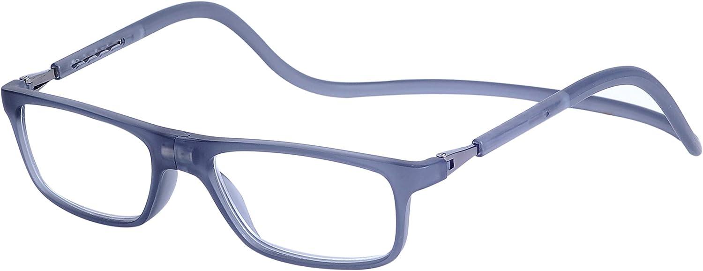 Gafas de Lectura Magnéticas Plegables para Hombre y Mujer +1.5 (50-54 años) Presbicia Vista Montura Regulable Colgar del Cuello y Cierre con Imán, Transparente Gris
