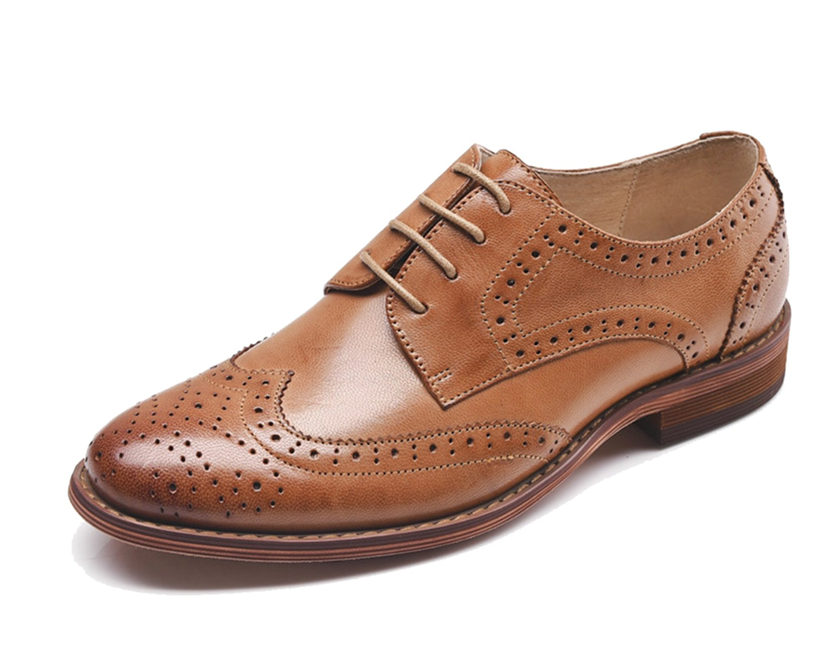 U-lite Womens Brown Perforated Lace-up Wingtip Leather Flat Oxfords Vintage Oxford Shoes 7 br