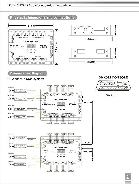 32 channel 96a rgbw dmx 512 led decoder controller dmx dimmer dc5 24v rgbw rgb led light 8 bit 16 bit DMX Pin Configuration