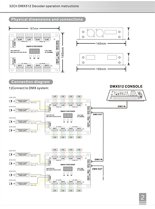 71YW4qZ0Q2L._SY679_ amazon com 32 channel 96a rgbw dmx 512 led decoder controller dmx dmx lighting control wiring diagram at bayanpartner.co