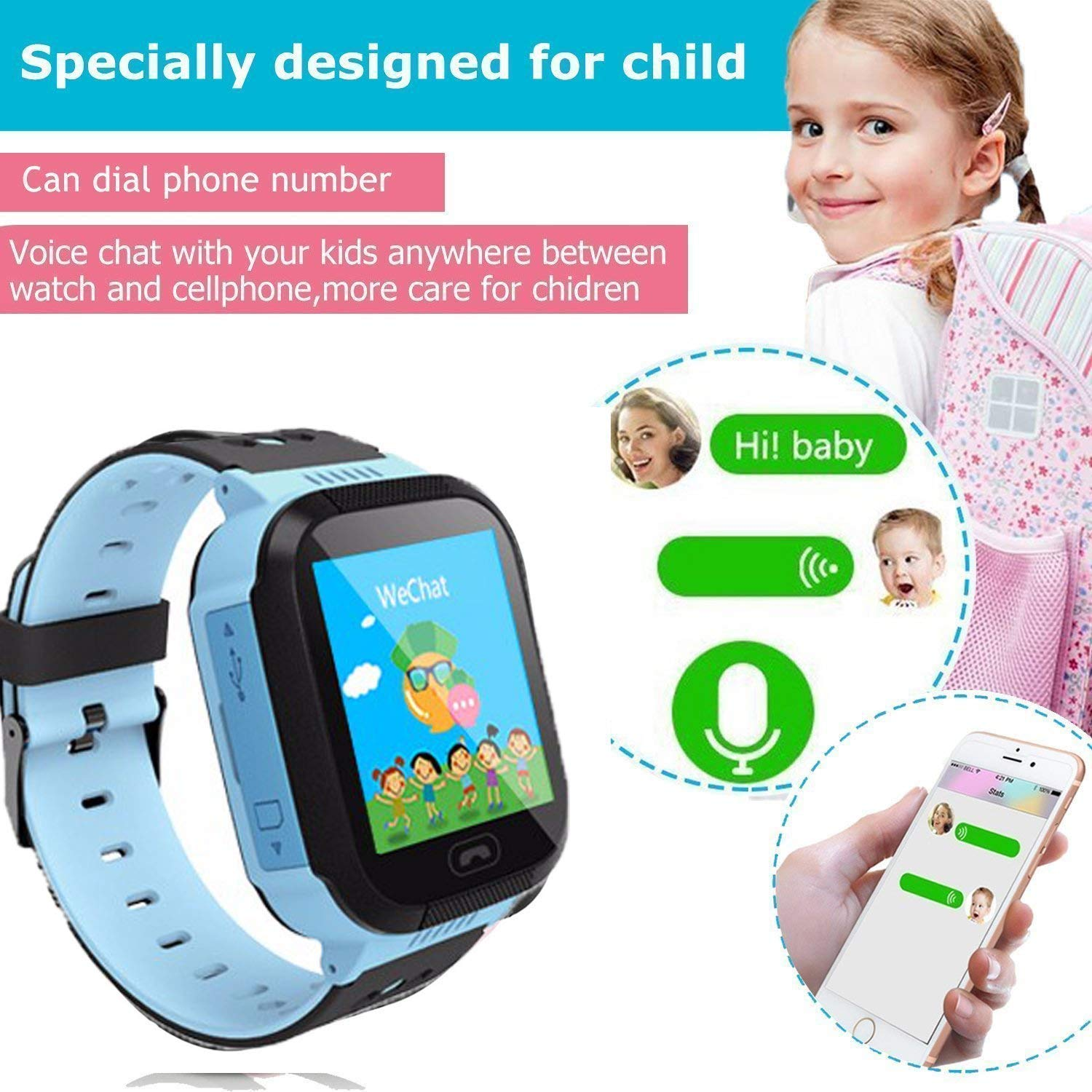 Enow Kids Smart Watch, LBS Tracker for Boys Girls with SOS Call Camera Flashlight Alarm Activity 1.44\'\' Touch Screen SIM Card Slot Electronic Smartwatch for Android/iOS (Blue)
