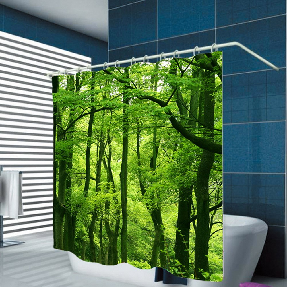 Tenda da Doccia con Stampa Foresta Tropicale Moderna antimuffa con 12 Ganci in Poliestere 180 x 200 cm Robluee Impermeabile