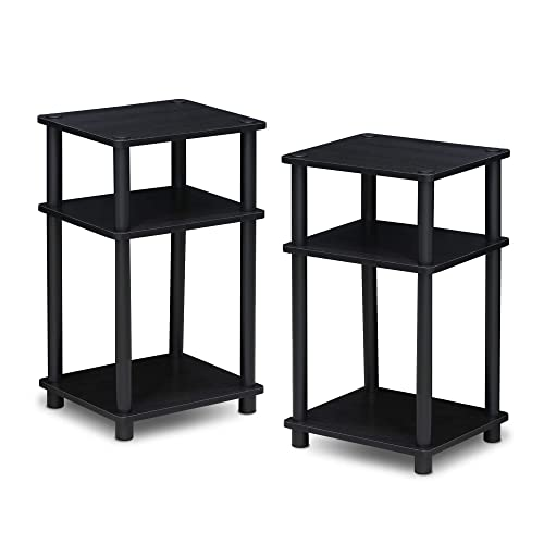 FURINNO Just 3-Tier Turn-N-Tube 2-Pack End Table, Americano Black