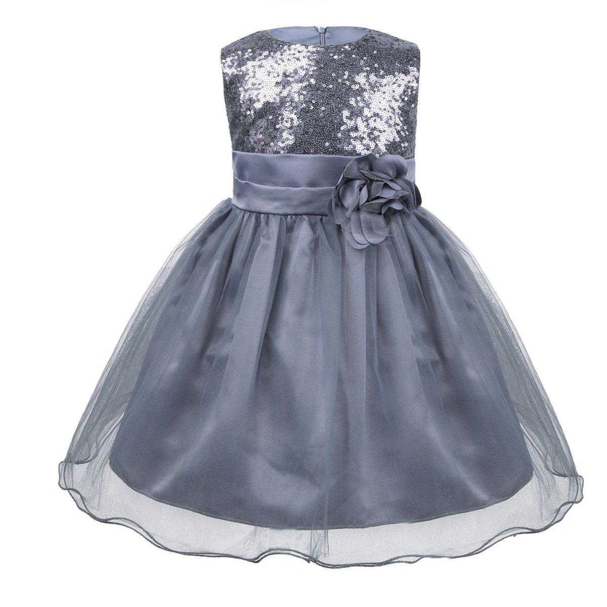 iiniim Baby Girls Sequins Formal Wedding Pageant Birthday Tutu Princess Party Flower Girl Dress Gray 12-18 Months