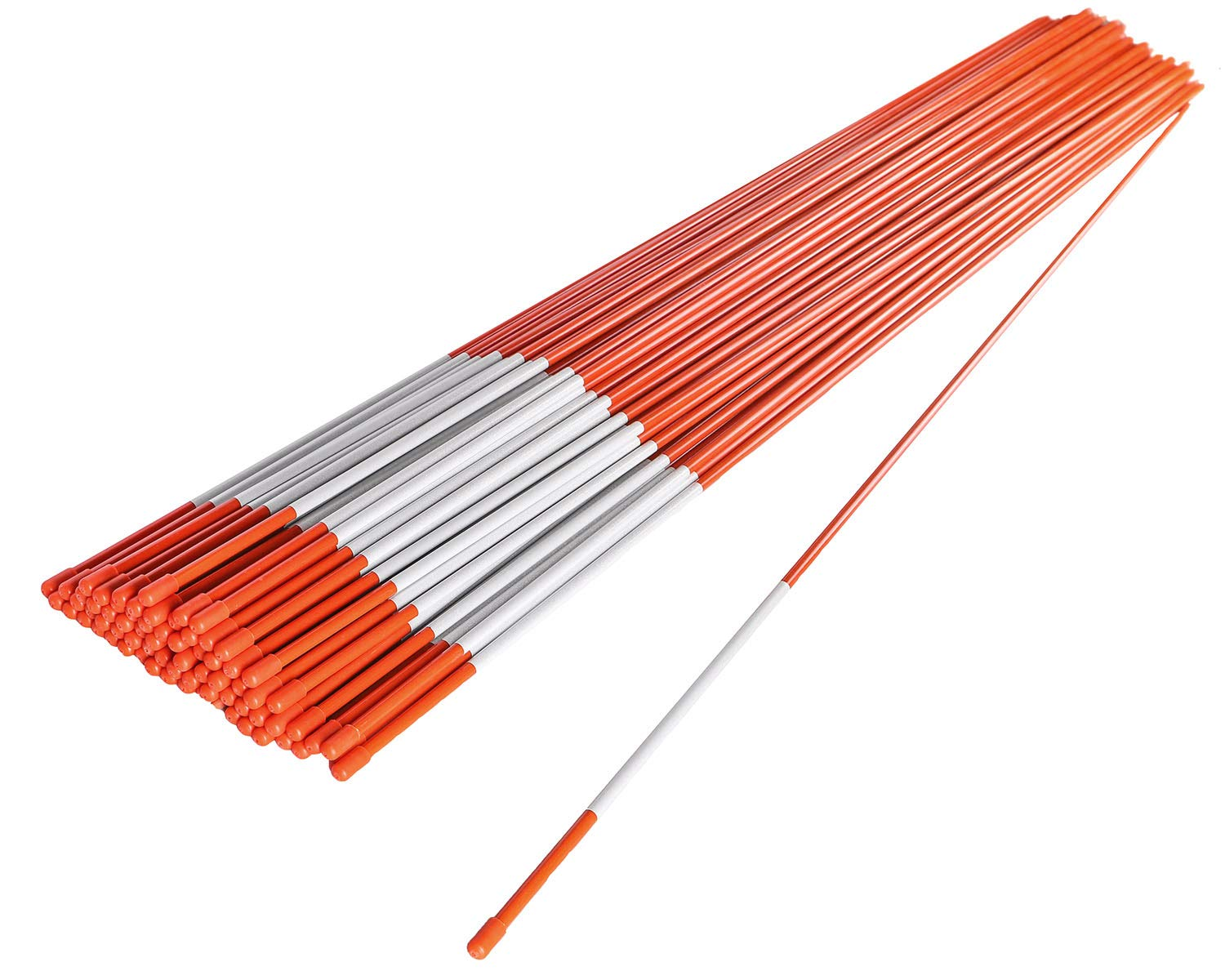 72'' Driveway Markers, Snow Stakes, Plow Stakes, Orange Reflective Fiberglass 6' (100)