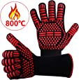 耐熱グローブ バーベキューグローブ 耐熱 手袋 最高耐熱温度800℃ 滑り止め 左右兼用 着脱簡単 5本指グローブ 調理道具 bbq 電子レンジ オーブン に最適 2枚セット (800℃)