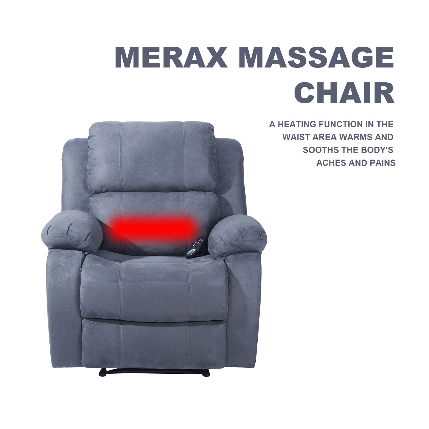 Merax Suede Heated Massage Recliner Sofa Chair Ergonomic Lounge with 8 Vibration Motors, Grey by Merax (Image #4)