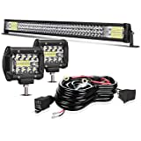"""Led Light Bar TURBO SII 32 Inch 405W Spot Flood Offroad Driving Lights w/4"""" Pods Cube Auxiliary Led Work light Fit Truck Pola"""