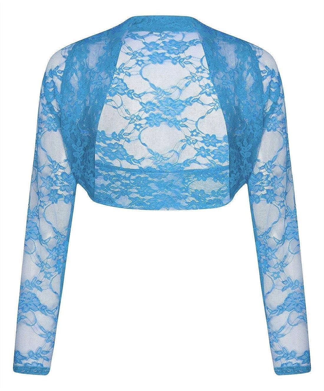 Islander Fashions para Mujer de Manga Larga Recortada de Encaje Shrug Top Ladies Bolero Plus Size Cardigan Top pequeo 3X Grande