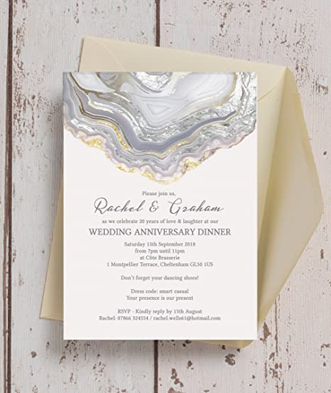 Personalised agate crystal wedding anniversary invitations with personalised agate crystal wedding anniversary invitations with envelopes pack of 10 stopboris Image collections