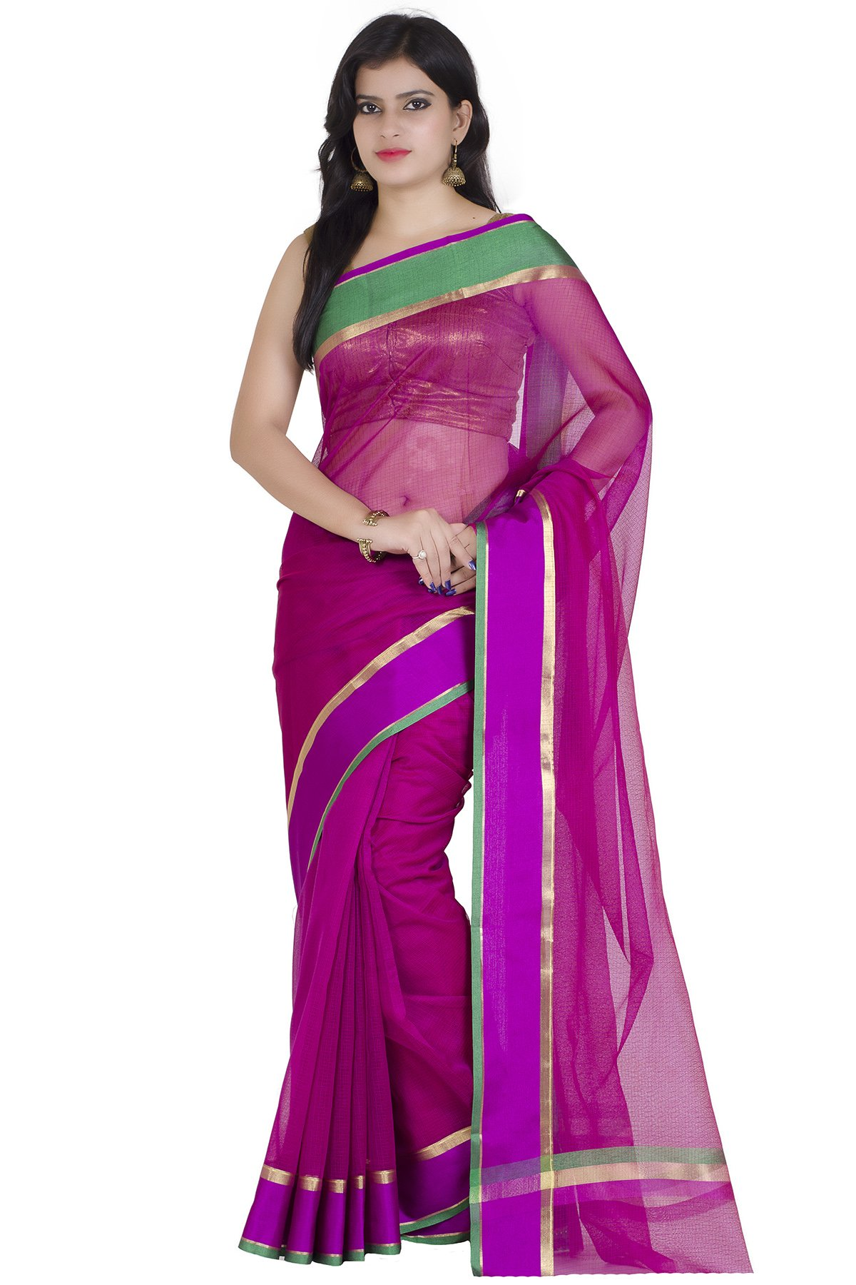 Chandrakala Women's Purple Cotton Blend Banarasi Saree(9507)