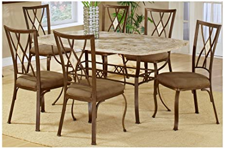 Amazoncom Brookside Rectangular Dining Table Set W Fossil Stone - Stone top rectangular dining table