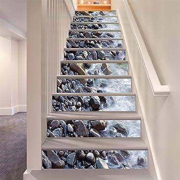 LIU LT034 6PCS Weiß Wasser Grau Stein Treppenhaus Aufkleber Entfernbar  Selbstklebend Wasserdicht DIY Wandgemälde