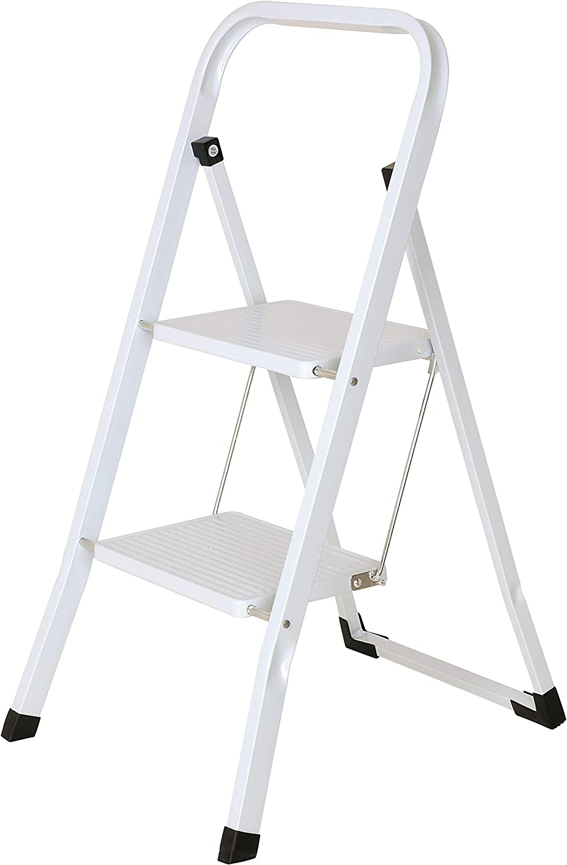 HIGH LIVING Escalera Plegable de Acero de Alta Vida con 2 escaleras, Antideslizante, para Cocina en casa, Color Blanco, 46,5 cm de Largo x 55 cm de Ancho x 82 cm de