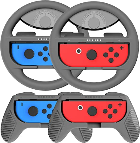 COODIO Volante y Grip Switch Joy-Con, Switch Joy-Con Racing Wheel Volante, Mandos Grip Joy-Con para Mario Kart Juegos / Joy-Con Mandos Nintendo Switch, Gris (Pack de 4 Deluxe): Amazon.es: Videojuegos