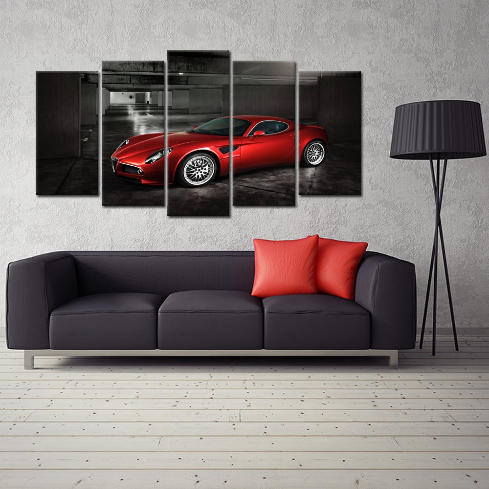 Kreative Arts – 5 Panels Red Sport Car in Black and White Posters Canvas Framed Wall Art Racing Cars Pictures Printed on Canvas Painting Artwork for Living Room Bedroom Interior Decoration