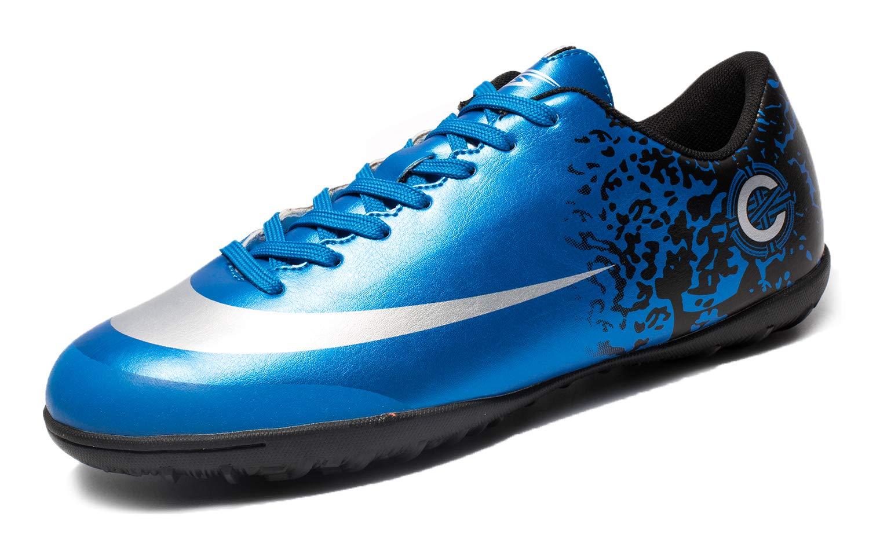 Tiebao Cleats Soccer Football Boots Turf Indoor Fusal Shoes Blue Lan-32729-5.0US/36
