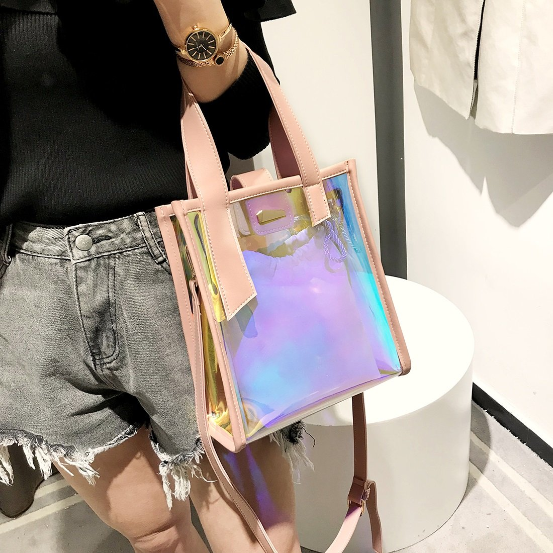 Color : Pink PEISUI Transparent Jelly Bag Fashion Clear Laser Shoulder Bag Messenger Bag