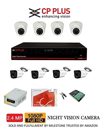 MILESTONE CP Plus Cosmic HD 8 Channel DVR with 2 4 MP 4 Dome and 4 Bullet  Cameras + 2 TB Surveillance HDD Combo