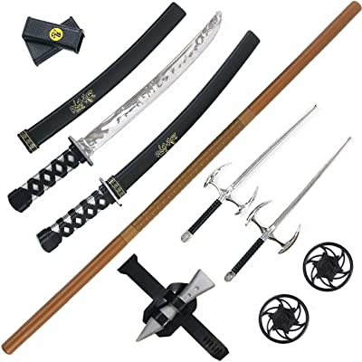 Liberty Imports Ninja Warrior Weapons Playset with 2 Kantana Swords, 2 SAIS, and Bow Staff: Toys & Games
