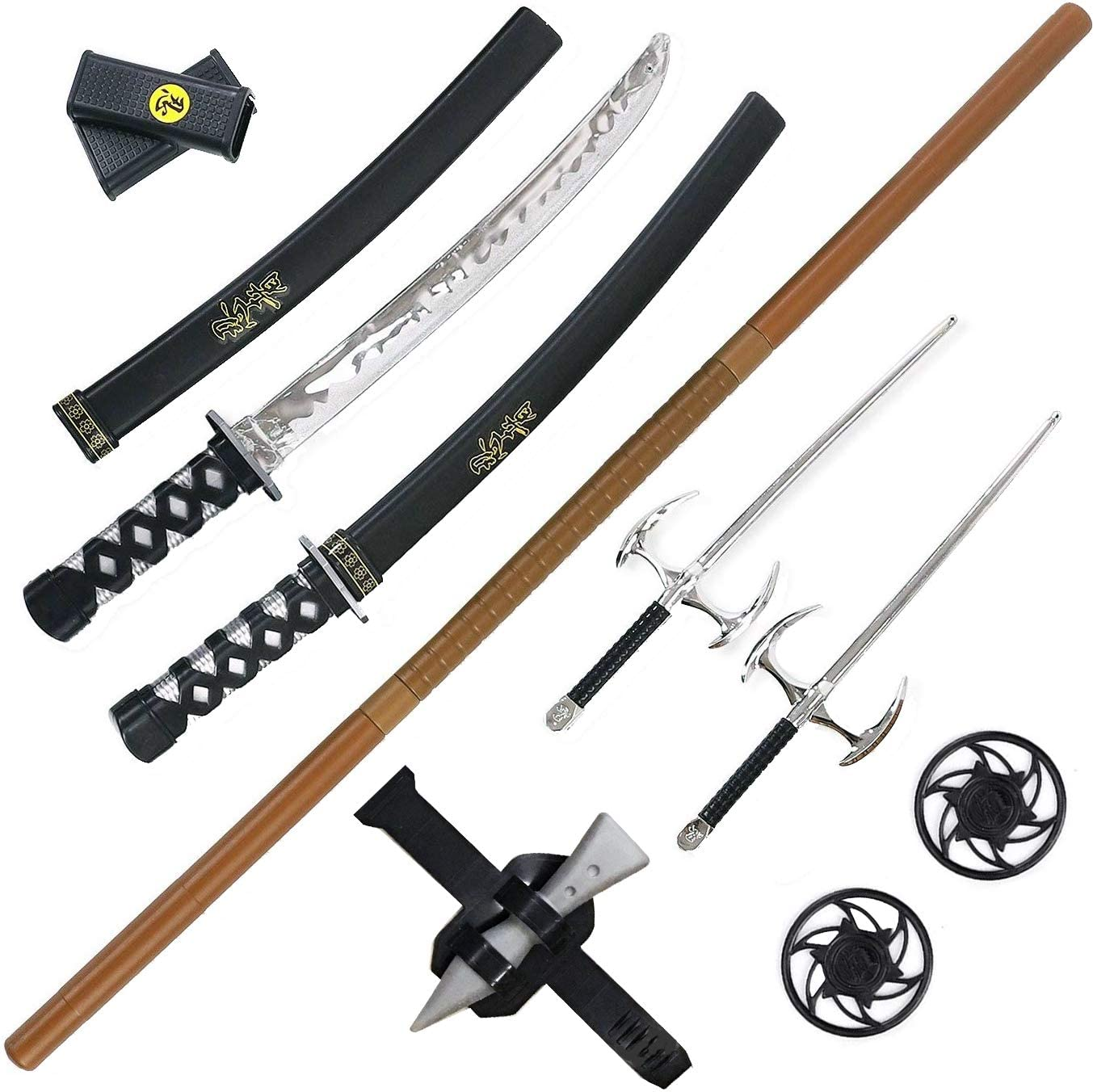 Liberty Imports Ninja Warrior Weapons Playset with 2 Kantana Swords, 2 SAIS, and Bow Staff