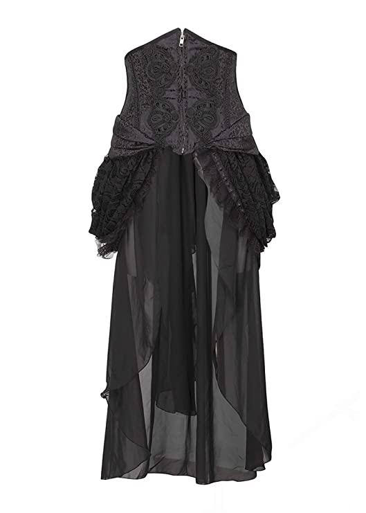Steampunk Corsets & Belts | Underbust, Overbust Womens Black Brocade Lace Goth Steampunk Burlesque Bustle Skirt $49.90 AT vintagedancer.com