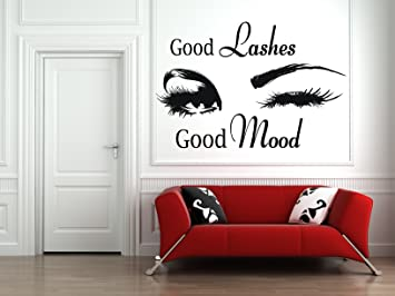 Lashes Eyelashes Eyebrows Brows Beauty Salon Decor Wall Decal Sticker Eye Quote Make Up L006