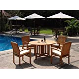 """New 5 Pc Luxurious Grade-A Teak Dining Set - 48"""" Round Butterfly Table And 4 Wave Stacking Arm Chairs #WHDSWV1"""
