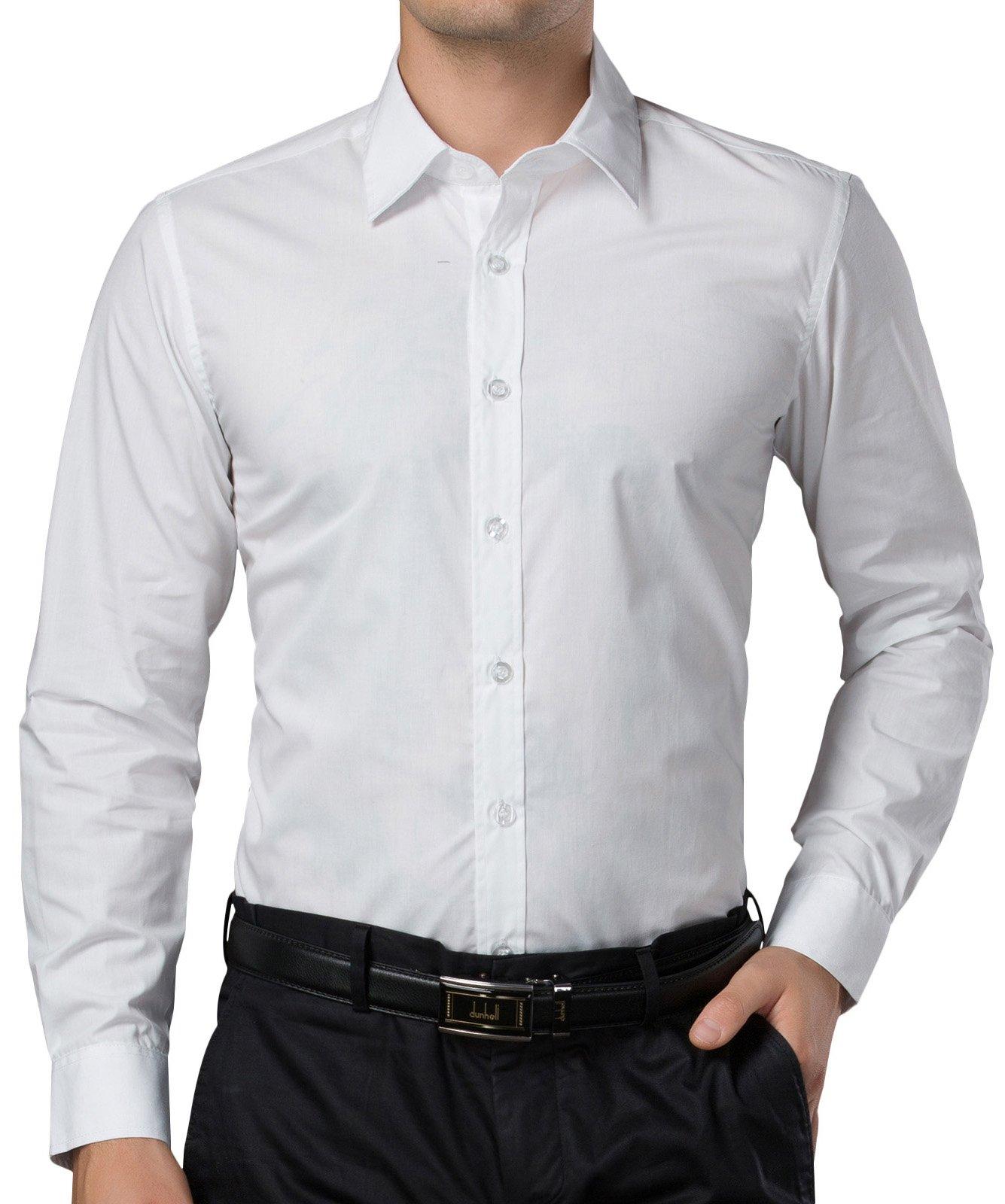 PAUL JONES White Business Casual Dress Shirts for Men Long Sleeves (L) by PAUL JONES (Image #5)