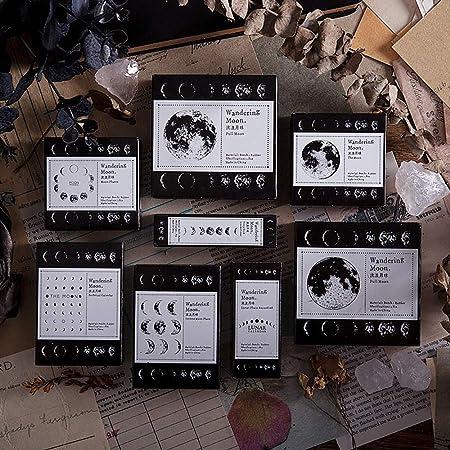 Fases De La Luna Serie Montado Sello Juego de Sello para DIY Lychii Sellos de Goma de Madera Diarios 8 PCS Cl/ásico Caucho Sello Envoltura de Regalos Scarpbooking Bullet Joural