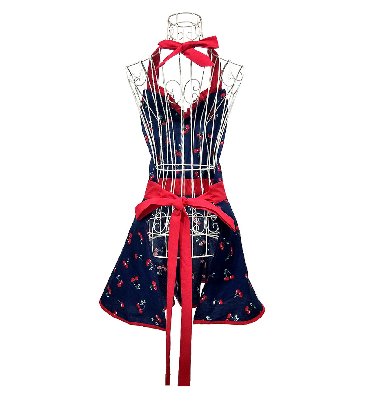 Hyzrz Cute Lovely Ladys Kitchen Fashion Blue Flirty Apron for Womens Girls with Pocket