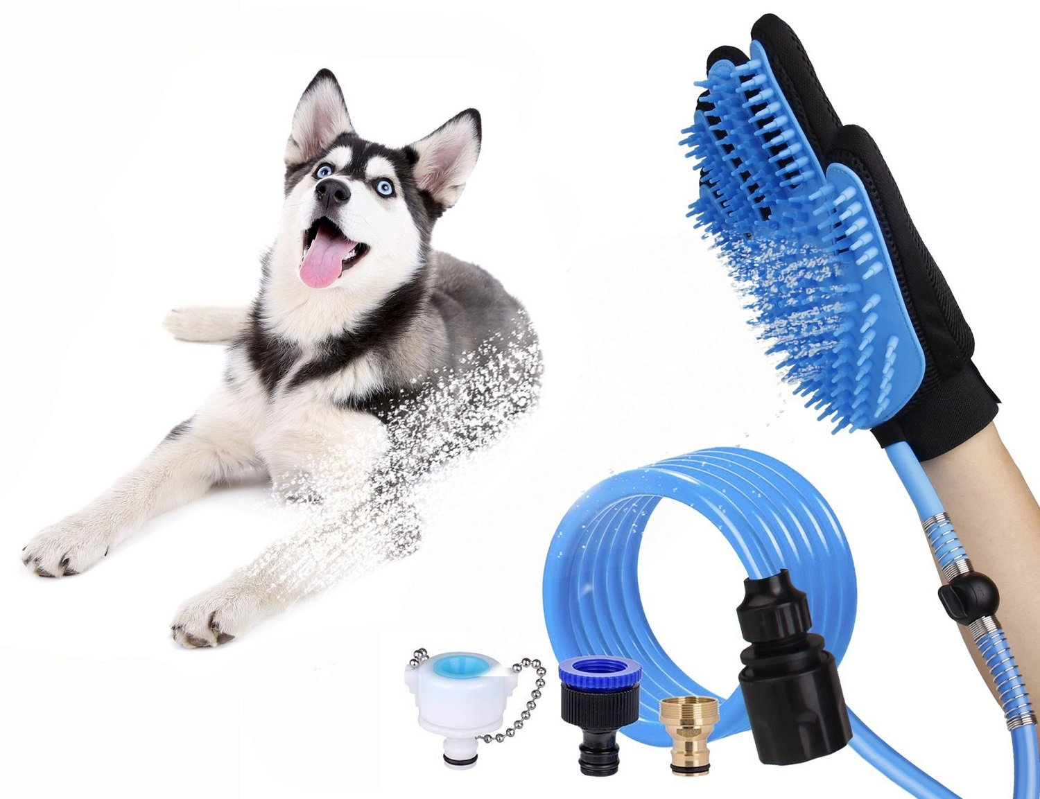 MSDUSA Pet Bathing Tool, Pet Shower Sprayer and Hair Removal Mitts Gloves to Bathing, Grooming, Warm Touch for Dogs/Cats/ Rabbits or Other Pets with a 8.2 Foot Hose and Bath Accessories Set