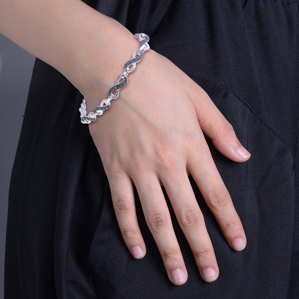 Sterling Silver Blue Diamond Infinity Bracelet (0.55 CT)