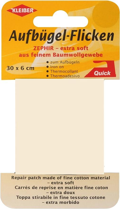 Kleiber 30 x 6 cm Extra Soft Fine Cotton Iron-On Repair Tape White